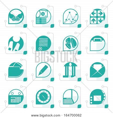 Stylized Business and office icons - vector icon set