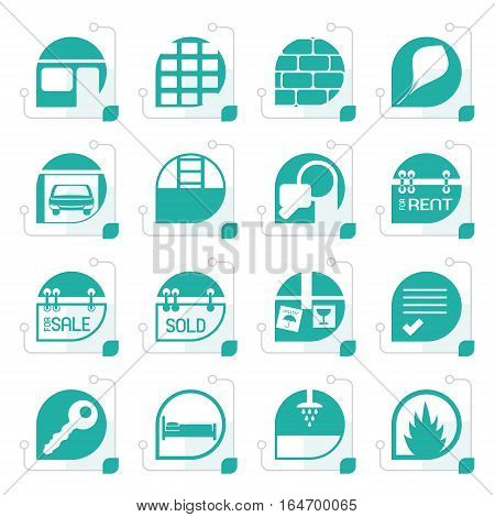 Stylized Simple Real Estate icons - Vector Icon Set
