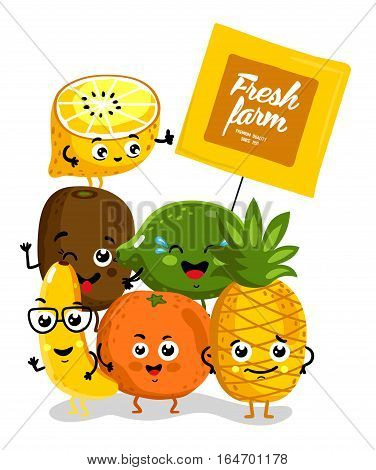 Cute fruit cartoon characters isolated on white background vector illustration. Funny pineapple, orange, lemon, lime, banana, kiwi with banner. Happy smile emoticon face, comical fruit mascot group