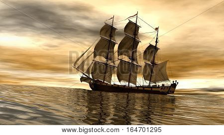 scene of pirate ship at sunset 3d rendering