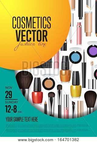 Cosmetics product presentation poster. Makeup accessories set. Cosmetics promotion flyer with date and time. Brushes, powder palettes, lipstick, eye pencil, nail polish vectors. For beauty salon, shop. Cosmetics product concept design