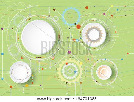 Vector illustration Hi-tech digital technology design colorful on circuit board and gear wheel engineering digital telecoms technology concept Abstract futuristic- technology on green color background