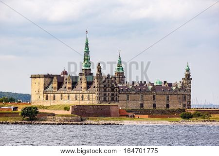 Kronborg castle from the seaside, Hamlet's castle in a play by William Shakespeare