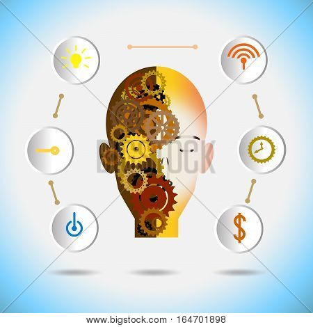 Vector illustration robot innovation and gear with icon on a blue background. Hi-tech digital technology and engineering digital telecoms technology concept Abstract - Technology futurists on a blue background