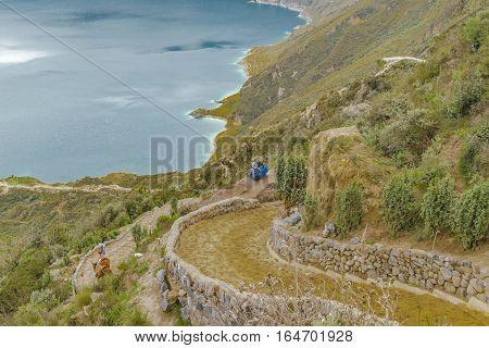 Path to Quilotoa lake at Latacunga distrcit, Ecuador