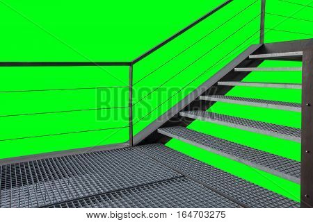 Iron Stairs Structure Over Green Chroma Background