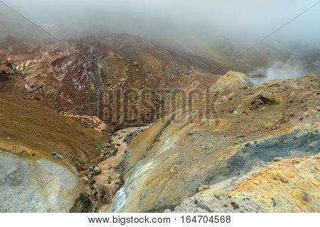 Stream from the melting of glaciers on the active volcano Mutnovsky.