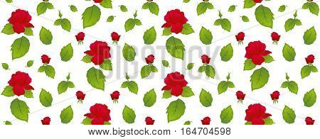 Pattern red roses with green leaves on a white background. Isolated white background.