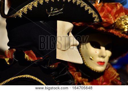 VENICE, ITALY - FEBRAURY 4: Carnival of Venice beautiful traditional mask 'Bauta' FEBRUARY 4, 2016 in Venice, Italy