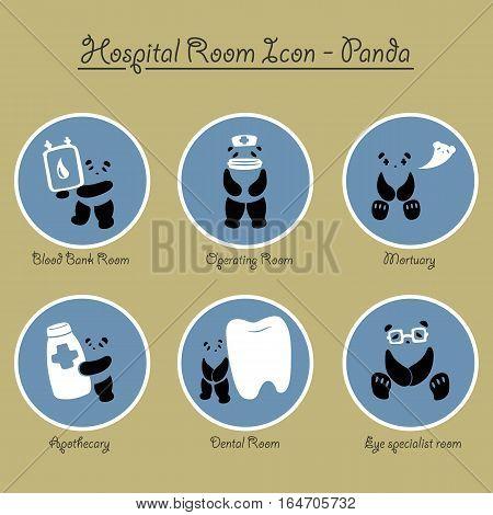 Cute panda hospital rooms icon vector collection.