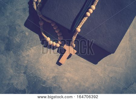 Catholic Rosary Beads With Old Book On Cement Table Prayer, Rosary Background Concept In Vintage Ton