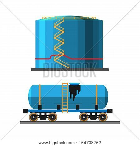 Set of oil industry production transportation extracting cartoon icons vector illustration. Energy processing platform. Petroleum container truck technology design.