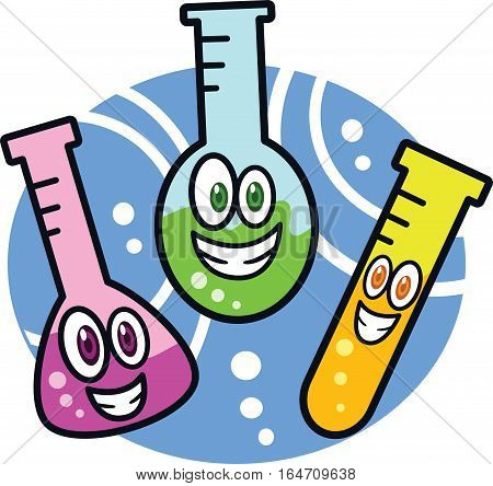 Funny Chemicla Test Tubes Cartoon. Vector illustration.