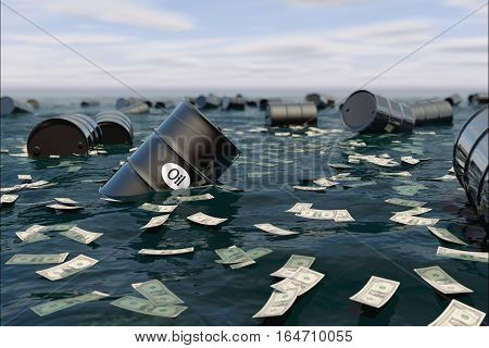 Oil barrel in water. price oil down. crisis concept. 3d rendering