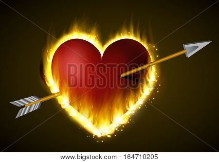 Flame heart on the dark background with arrow coming through