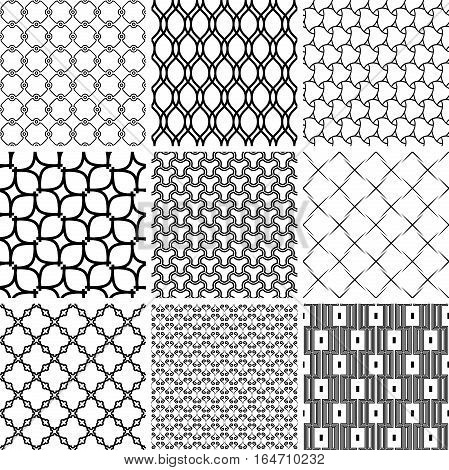Set of seamless geometric patterns for your designs and backgrpounds. Modern ornaments with repeating elements. Black and white patterns
