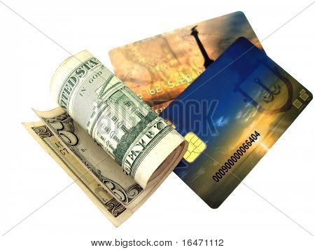 Close-up of yellow and blue credit card with money