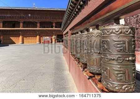 Lijiang, China - November 14, 2016: Prayer Wheels In A Tibetan Temple Of Shuhe Old Town, A Unesco Wo