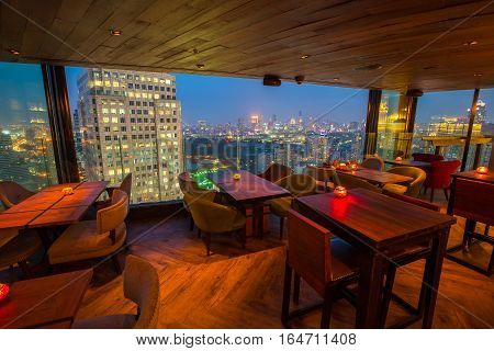 BANGKOK - THAILAND JANUARY 5, 2017 : View from the top of Bangkok Building rooftop bar & restaurant on January 5, 2017 in Bangkok, Thailand. Bangkok Building is a rooftop bar on the 40 rd floor