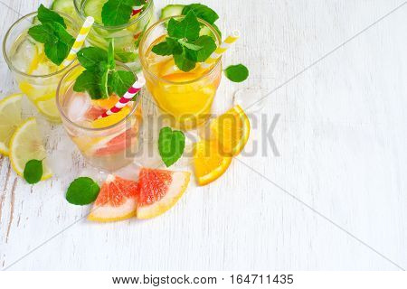 Set of infused water for detox on a white background