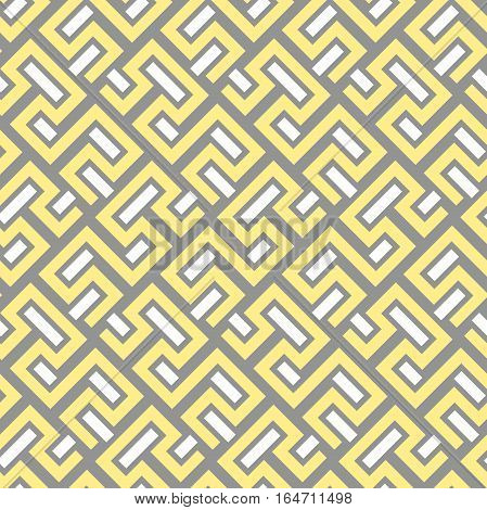 Seamless geometric yellow pattern for your designs and backgrounds. Modern ornament with repeating elements