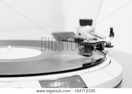 Turntable with black hi-fi Headshell Cartridge in action, dj, audio