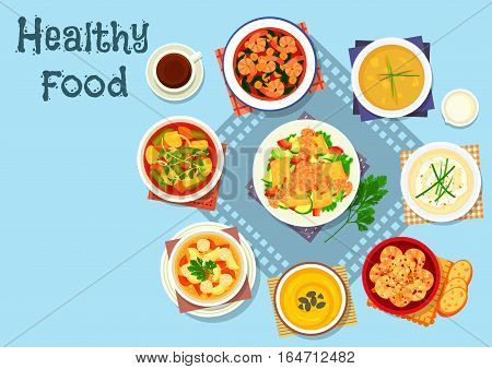 Rich soup and seafood dishes icon of vegetable mango salad with grilled shrimp, soups with carrot, bean, meatball, potato, cauliflower and cream, shrimp stew with bacon and garlic prawn
