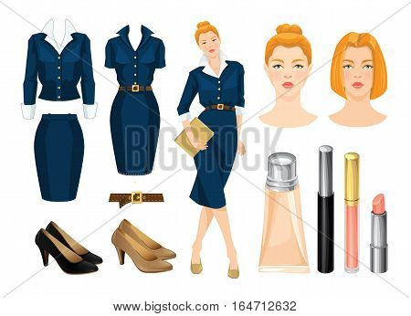 Vector illustration of corporate dress code. Redhead secretary or business woman in blue formal dress and beige shoes.