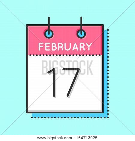 Vector Calendar Icon. Flat and thin line vector illustration. Calendar sheet on light blue background. February 17 th. Chinese new year