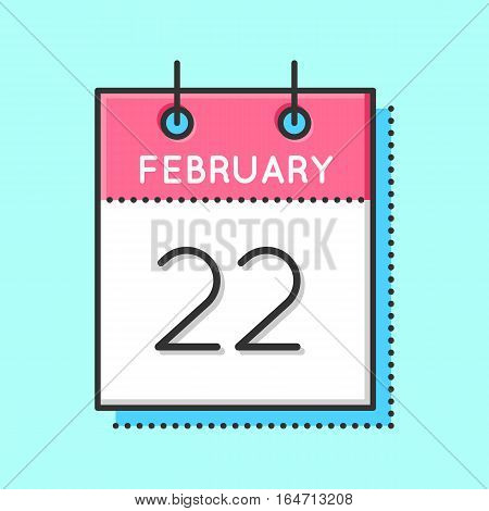 Vector Calendar Icon. Flat and thin line vector illustration. Calendar sheet on light blue background. February 22th. George Washington birthday