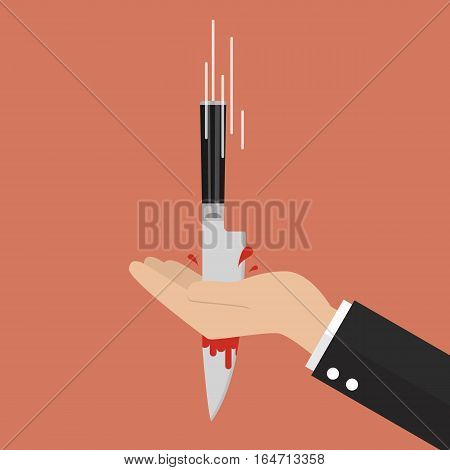 Knife stabbing into hand. Vector Illustration business concept