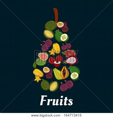 Pear fruit silhouette with exotic tropical papaya, passion fruit, feijoa, carambola, dragon fruit, fig, durian, lychee and guava flat icons. Fruit dessert, cocktail menu, juice packaging design