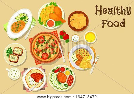 Potato, meat, cheese dishes icon of tomato cheese pizza, chicken leg with fries, grilled beef steak with vegetables, potato chips, baked pork and chicken with veggies, cottage cheese sandwich, falafel