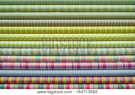 Pile of colorful fabric in horizontal line