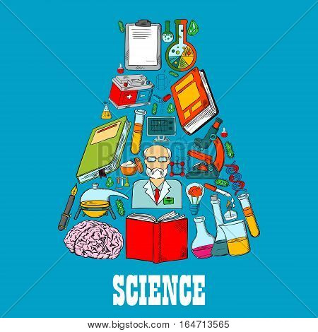 Chemistry flask emblem of vector science icons. Symbol of science design of chemistry pattern of test vial, scientific book, brain, scientist, research and laboratory equipment. Vector flat icons