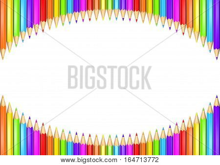 3d rendered illustration of rainbow colored pencils arcing around the top and bottom with copy space in the middle.  Isolated over white background.