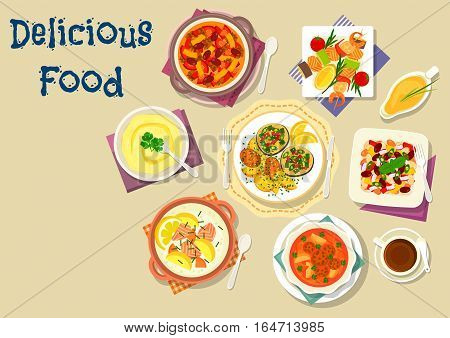 Popular soup and salad dishes icon with meatball tomato soup, grilled seafood with vegetables, bean beef stew, salmon cream soup, fried fish with potato, bean salad, chickpea mash