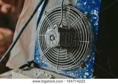 industrial metal fan with an electric motor