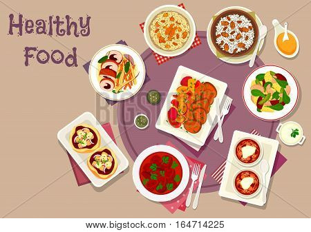 Tasty dinner with dried fruits icon of pizza with cheese, vegetable salad with fish, rabbit roll with prune, baked pork with plum, wheat and rice pudding with raisins and nut, beef stew, beet soup