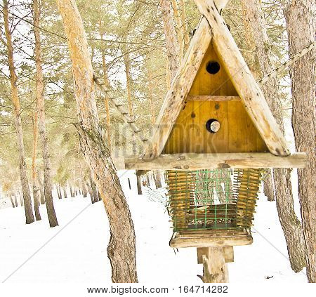 big bird feeders in the winter in the woods feeding trough for animals