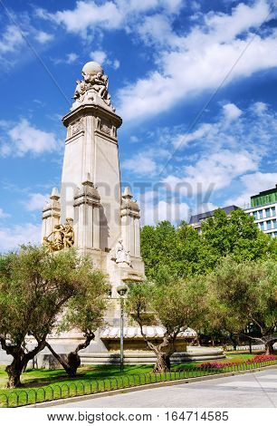 Eastern Side Of The Cervantes Monument On The Square Of Spain (plaza De Espana)