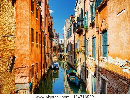 Beautiful View Of The Rio Terra Secondo Canal In Venice, Italy