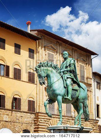 Statue Of Cosimo I Medici On The Piazza Della Signoria. Florence