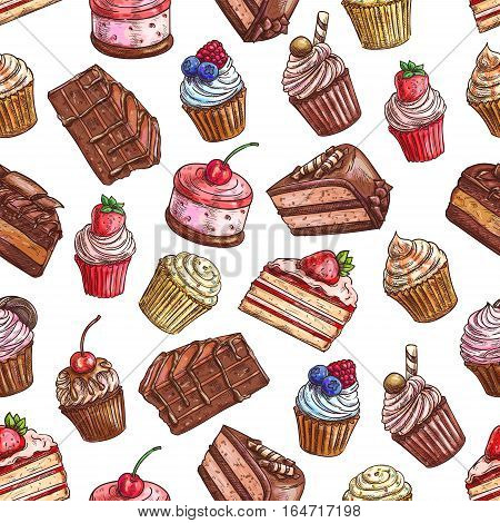 Sweet cakes, strawberry cupcakes, chocolate muffins, tarts with fruits and berries. Vector color sketch seamless pattern of baked desserts for patisserie, bakery, pastry shop decoration design elements