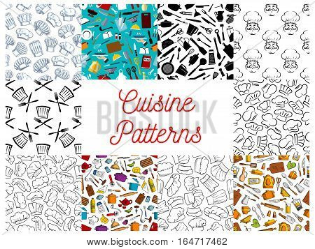 Cuisine pattern set. Vector seamless pattern of cuisine kitchenware objects, kitchen utensils, sketch baker and cook hat, kettle, sauce pan, spoon, knife, fork. Kitchen decoration tile background