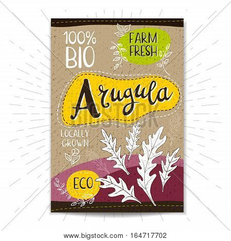 Colorful label in sketch style, food, spices, cardboard textured background. Arugula Spice. Bio, eco, farm, fresh. locally grown. Hand drawn vector illustration