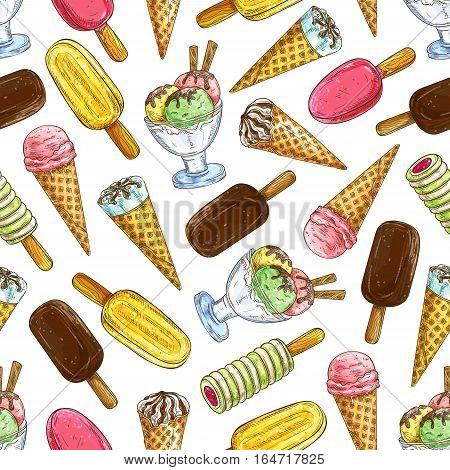 Ice cream pattern. Vector pattern of ice cream elements eskimo pie, frozen ice, sorbet, gelato, sundae, scoops in cones and cups. Decoration sketch background for cafe menu card, restaurant design