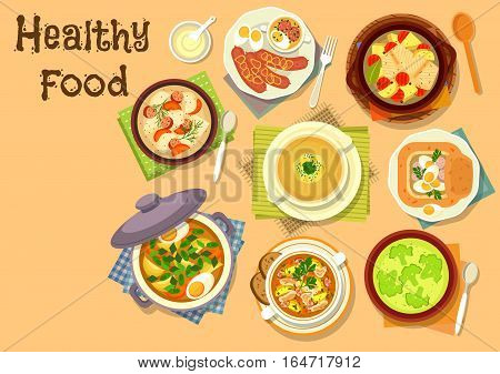 Healthy lunch with soup dishes icon of fish vegetable soup, beef sorrel soup with egg, broccoli cream soup, oat soup with sausage, egg and mushroom, onion soup, rye soup with bacon and vegetables