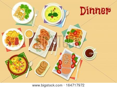 Meat and potato dishes for lunch icon with chicken in potato batter, beef chop with cheese, pancake with egg, potato bacon soup, beef pumpkin lasagna, potato cream soup, liver pate