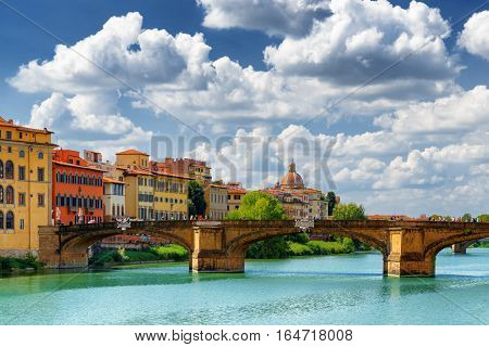 The Ponte Santa Trinita Over The Arno River, Florence, Italy